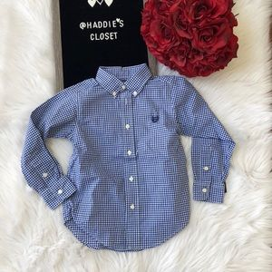 Chaps blue and white checkered button down shirt
